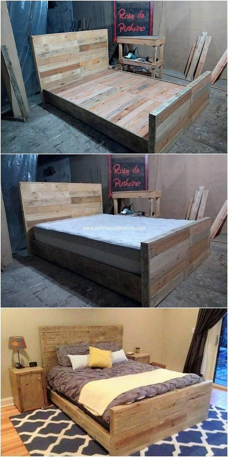 Such a cool wood pallet bed frame shape of designing has been