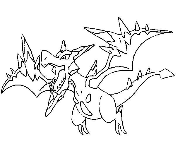 Coloring Page Mega Evolved Pokemon Mega Aerodactyl 142 142