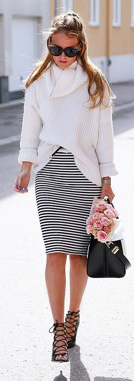 Black And White Striped Skirt Outfit Idea by By Kiki