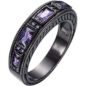 Junxin 6mm Unisex Adult European Wedding Band Ring Black Gold