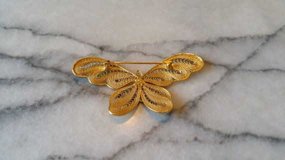 Vintage Large Gold Filigree Butterfly Pin Brooch by WowItsPaper