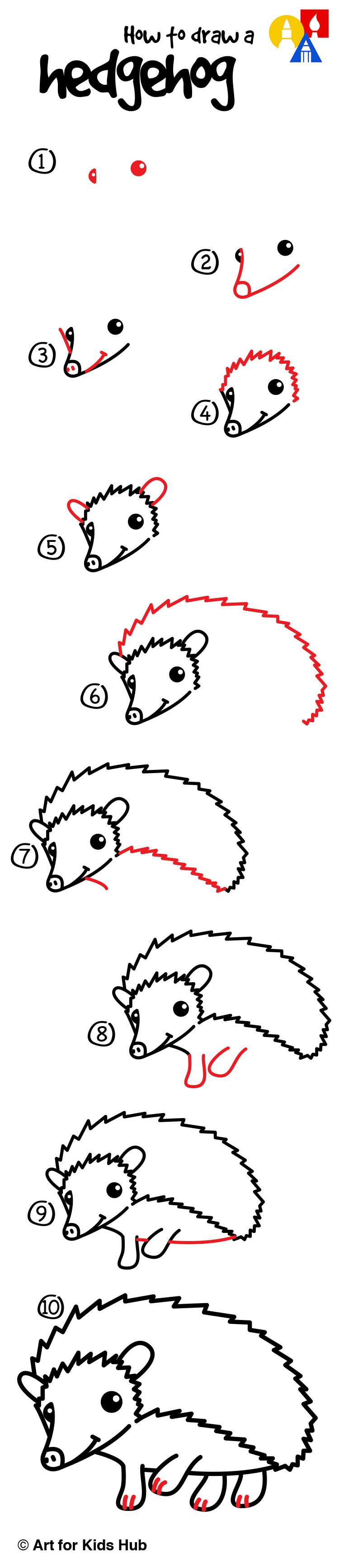 How To Draw A Hedgehog  Art For Kids Hub
