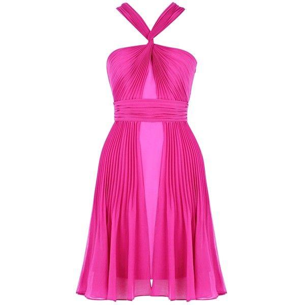 Warehouse Twist Halterneck Dress, Purple ($26) ❤ liked on Polyvore
