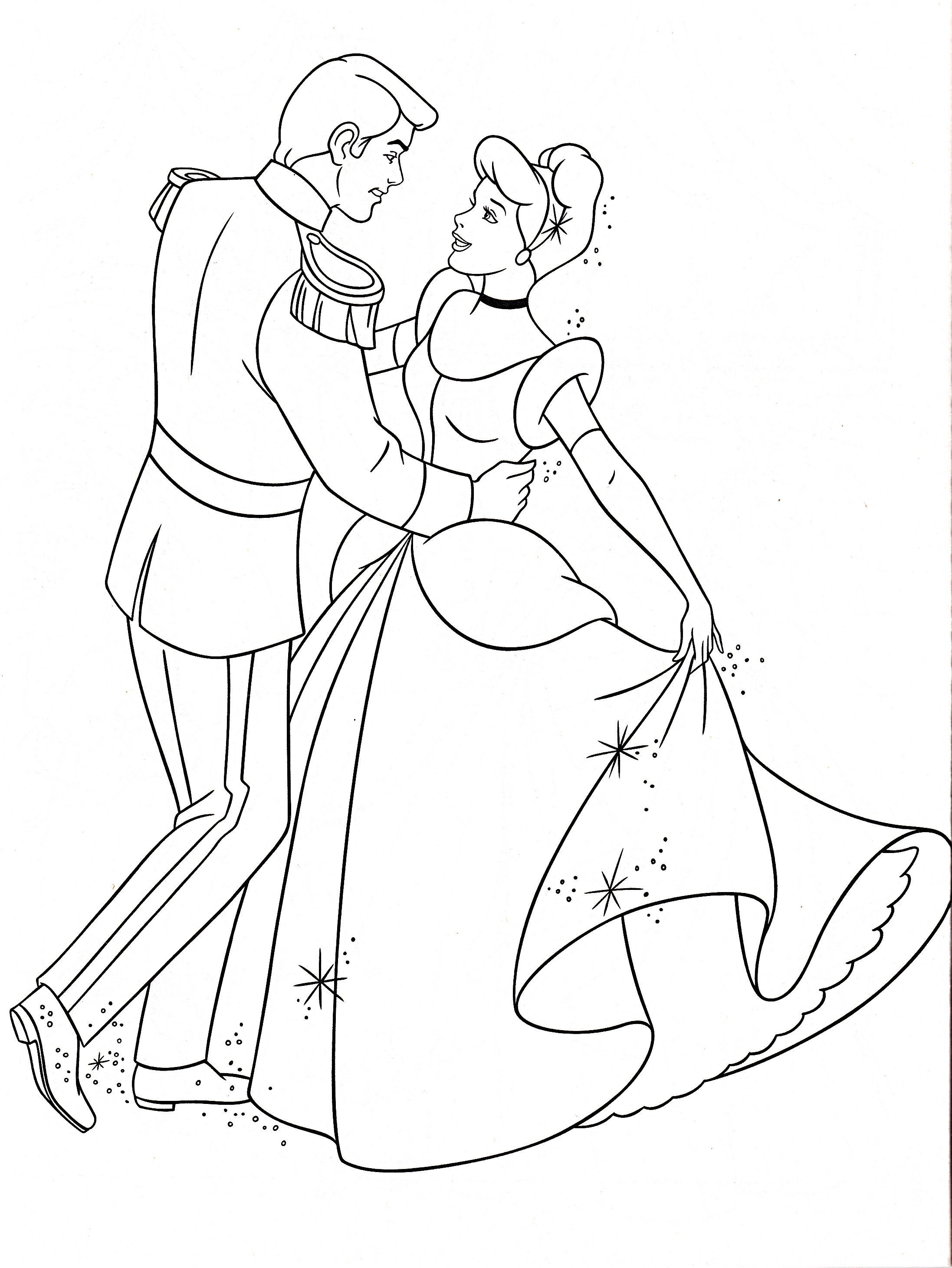 coloring pages cinderella and prince charming sketsa