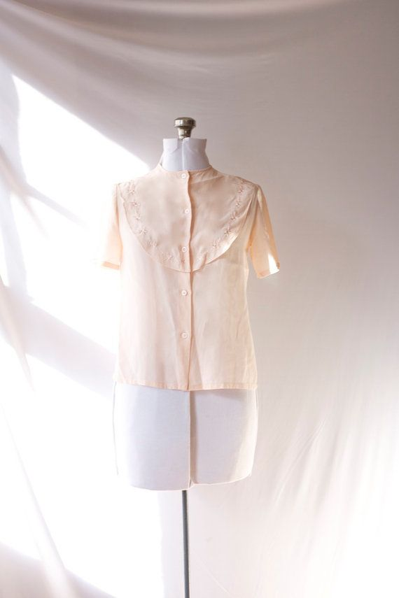 Vintage Silk Blouse  Pale Rose  Hand by PomegranateVintage on Etsy, $25.00
