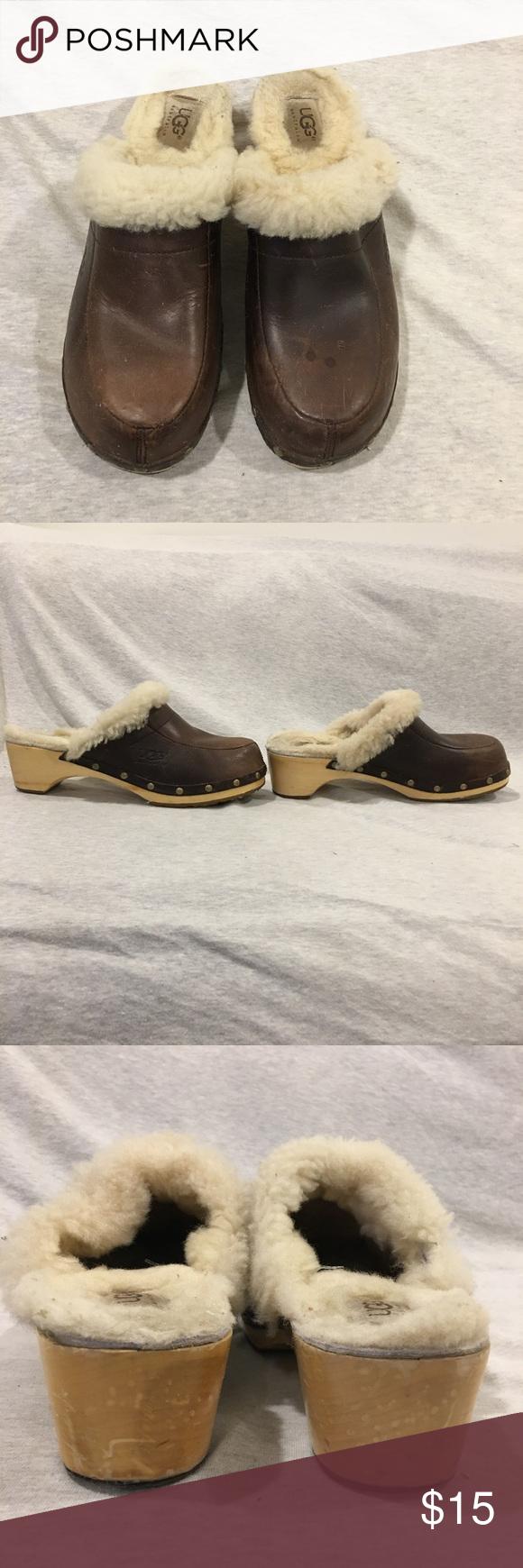 UGG Australia 5425 Kalie Sheepskin Fur UGG Australia 5425 Kalie Sheepskin Fur Studded Wood Clog Mule Women's. Size 7 UGG Shoes Platforms