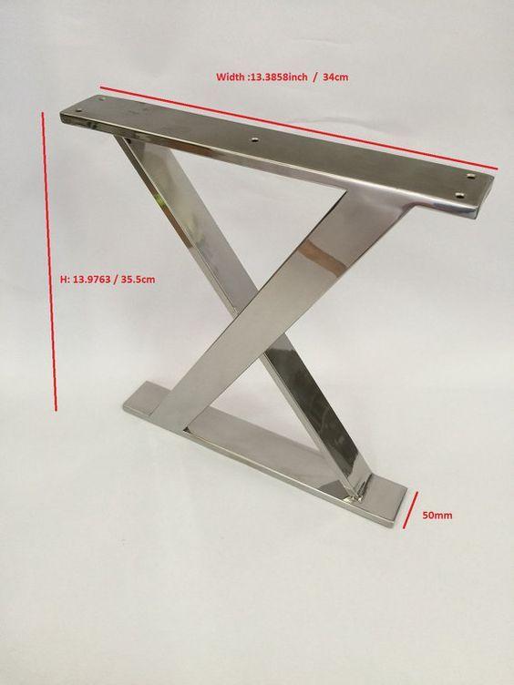 Patas de acero inoxidable X marco pulidas. Altura: 13 pulgadas 9763 ...