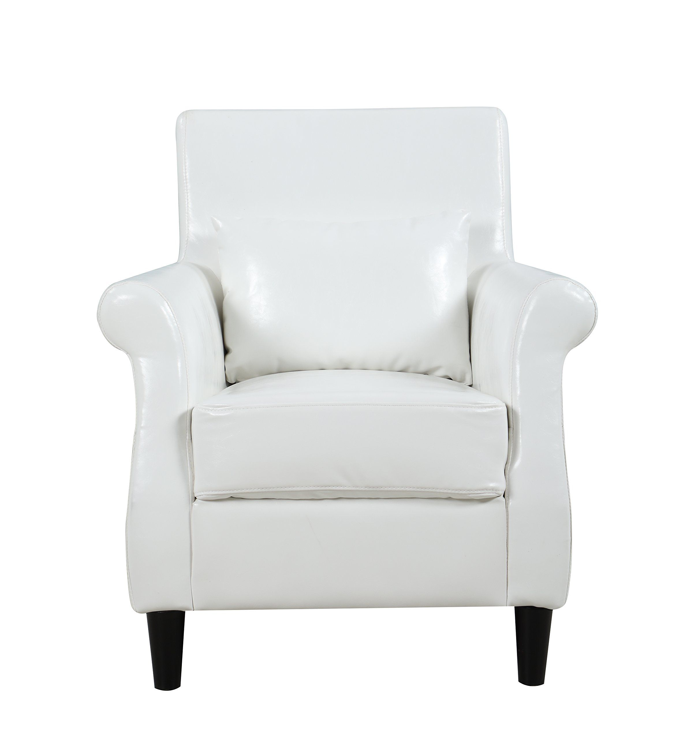 Classic Scroll Arm Faux Leather Living Room Armchair White Visit The Image Link More Details This Is An Affi Leather Armchair Armchair Living Room Leather