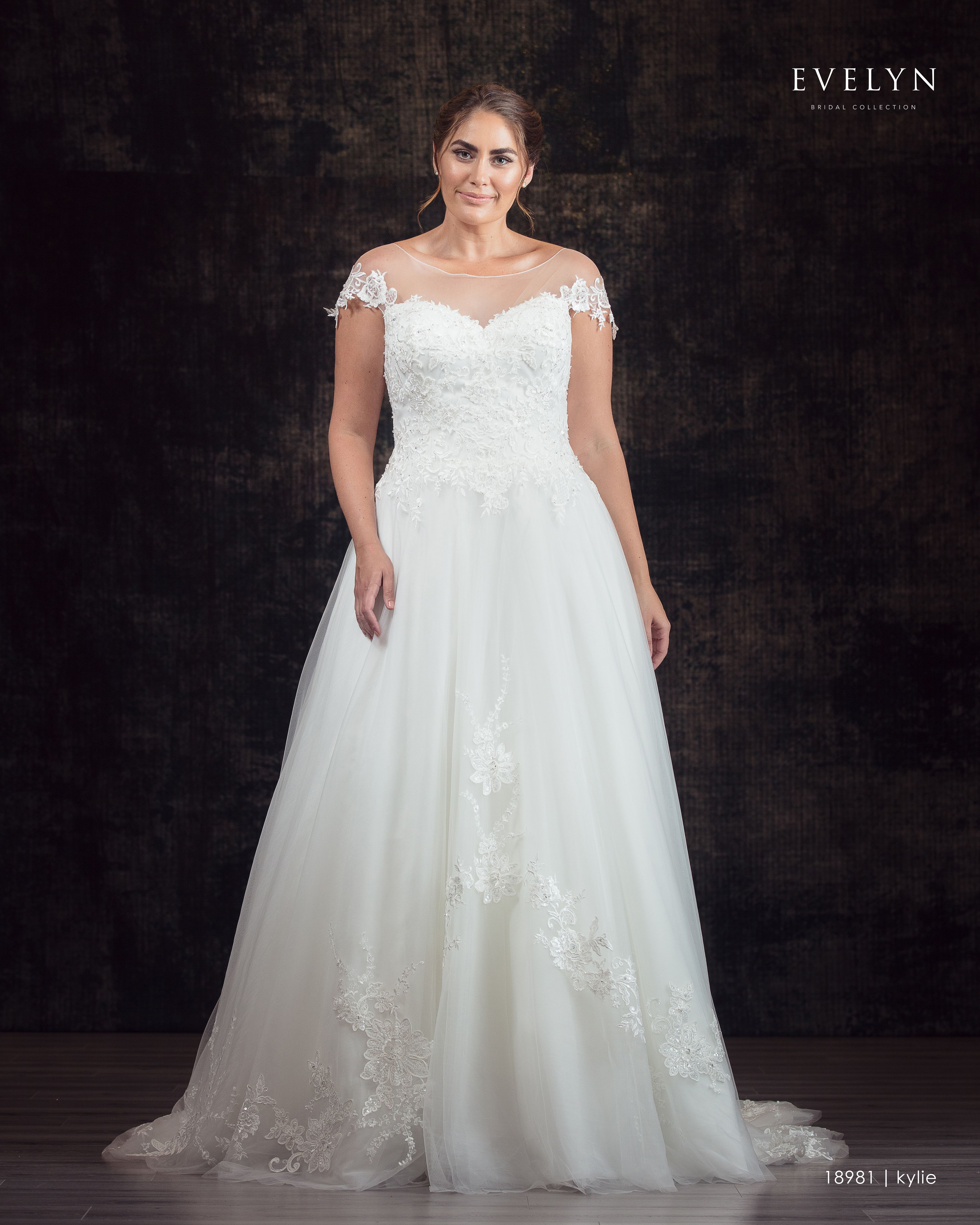 Evelyn bridal kylie this tulle ball gown features tulle cap