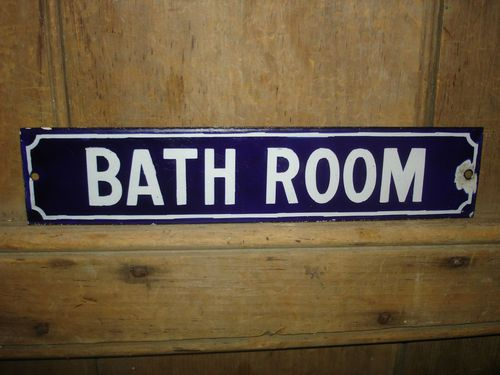 Antique Early Old Original Rare Bath Room Porcelain Enamel Sign Toilet  Vintage