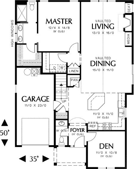 Plan 69128am European Cottage Plan With High Ceilings Narrow Lot House Plans Cottage Plan House Plans