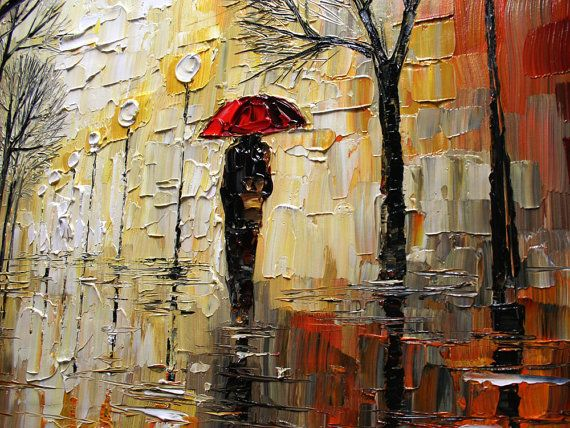 Palette Knife Oil on canvas Rain in the Park painting by Artcoast