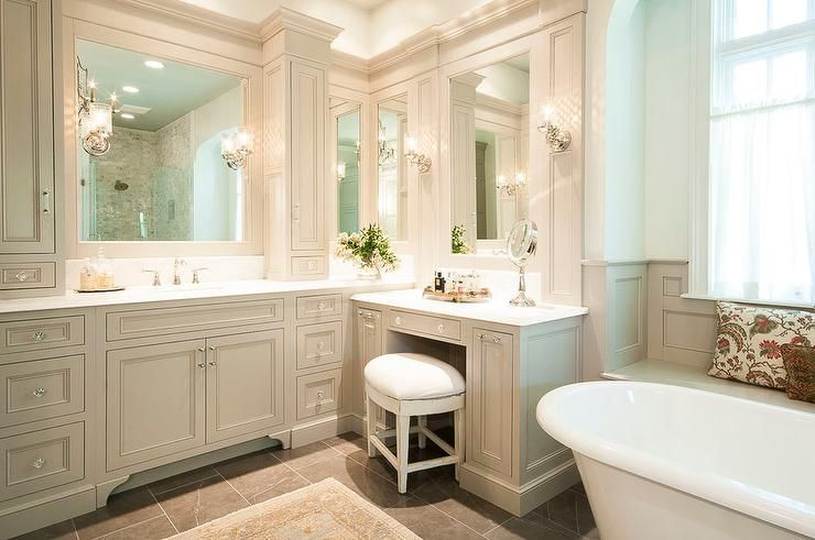 Photo of Traditional gray bathroom features gray shaker vanity cabinets paired with white…