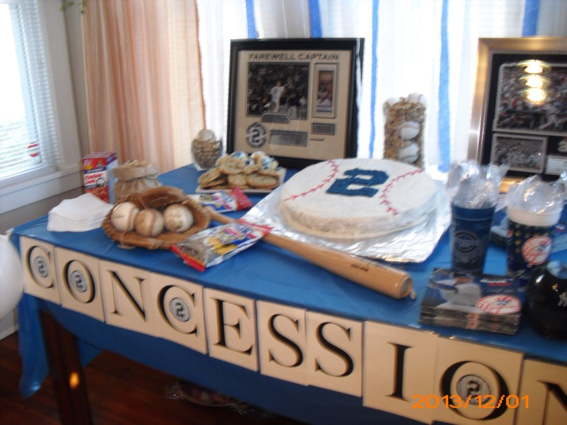 Baseball 2nd Birthday Party  Derek Jeter Themed Yankee Baseball Party  Concession  Table.
