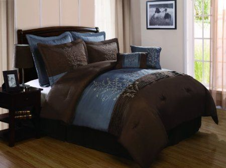 Blue And Brown Bedroom Set amazon: victoria classics harmony 8-piece king comforter set