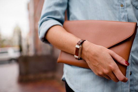 In pelle da donna Fit Bit Bracciale in argento e agata titolare per Fitbit Flex o Flex Tracker 2 w / Cinturino di pelle marrone o nera per le donne