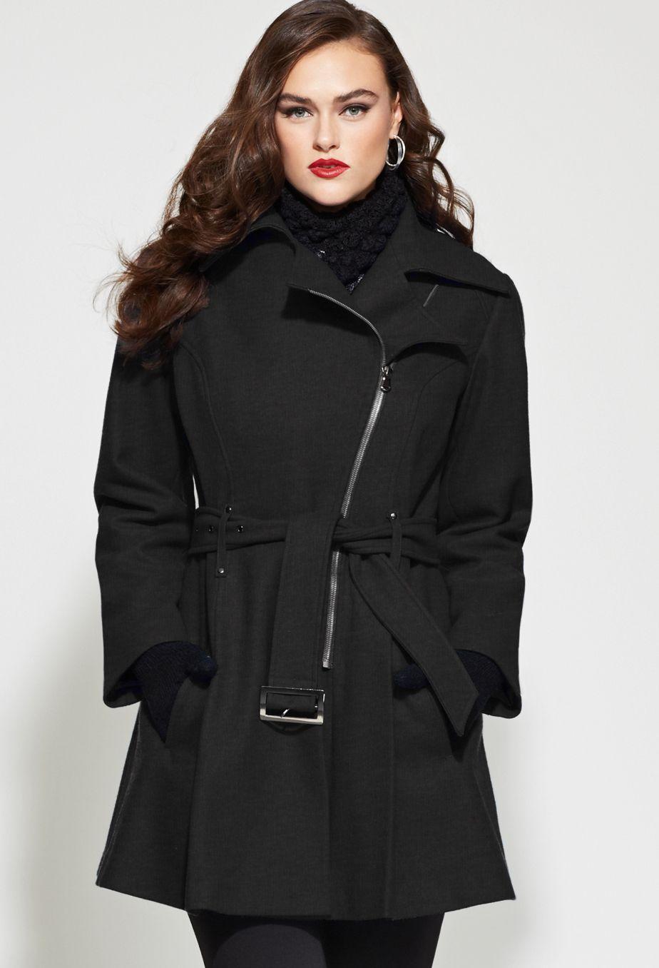 88fce1480 Plus Size Belted Asymmetrical Wool Coat   Plus Size Outerwear ...