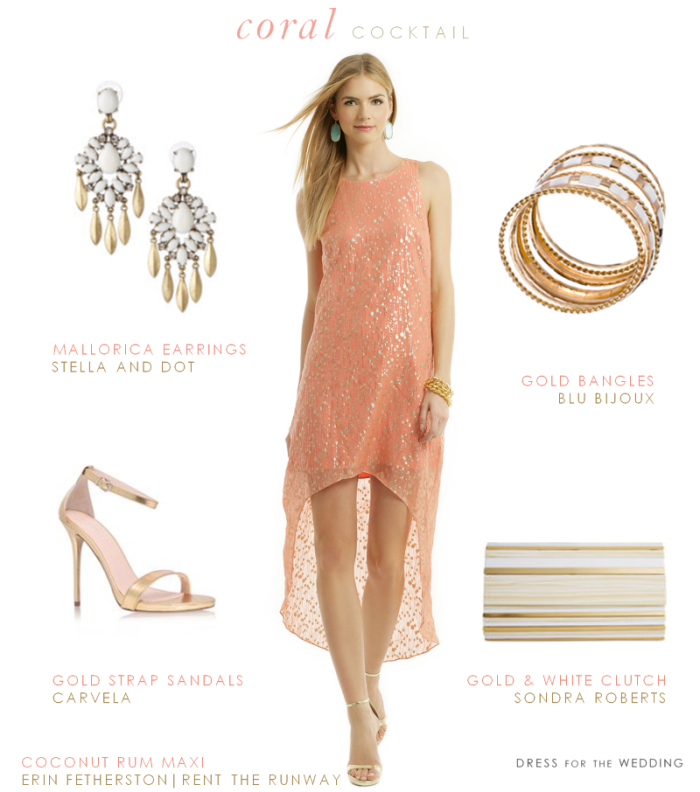 Coral And Gold Dress For A Cocktail Hour Wedding Reception