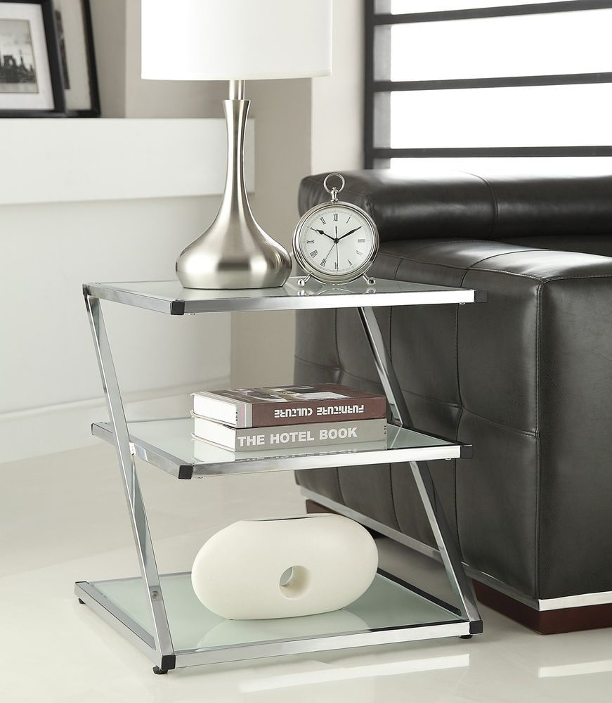 3 Tier Chrome Finish Glass Chair Side End Table Glass Top Accent Table Glass Chair Glass End Tables