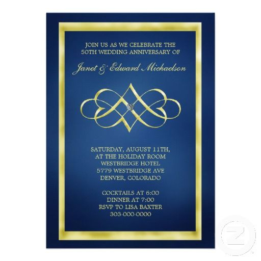 Blue and Gold Heart Swirl Anniversary Invitation by Sand Creek Ventures