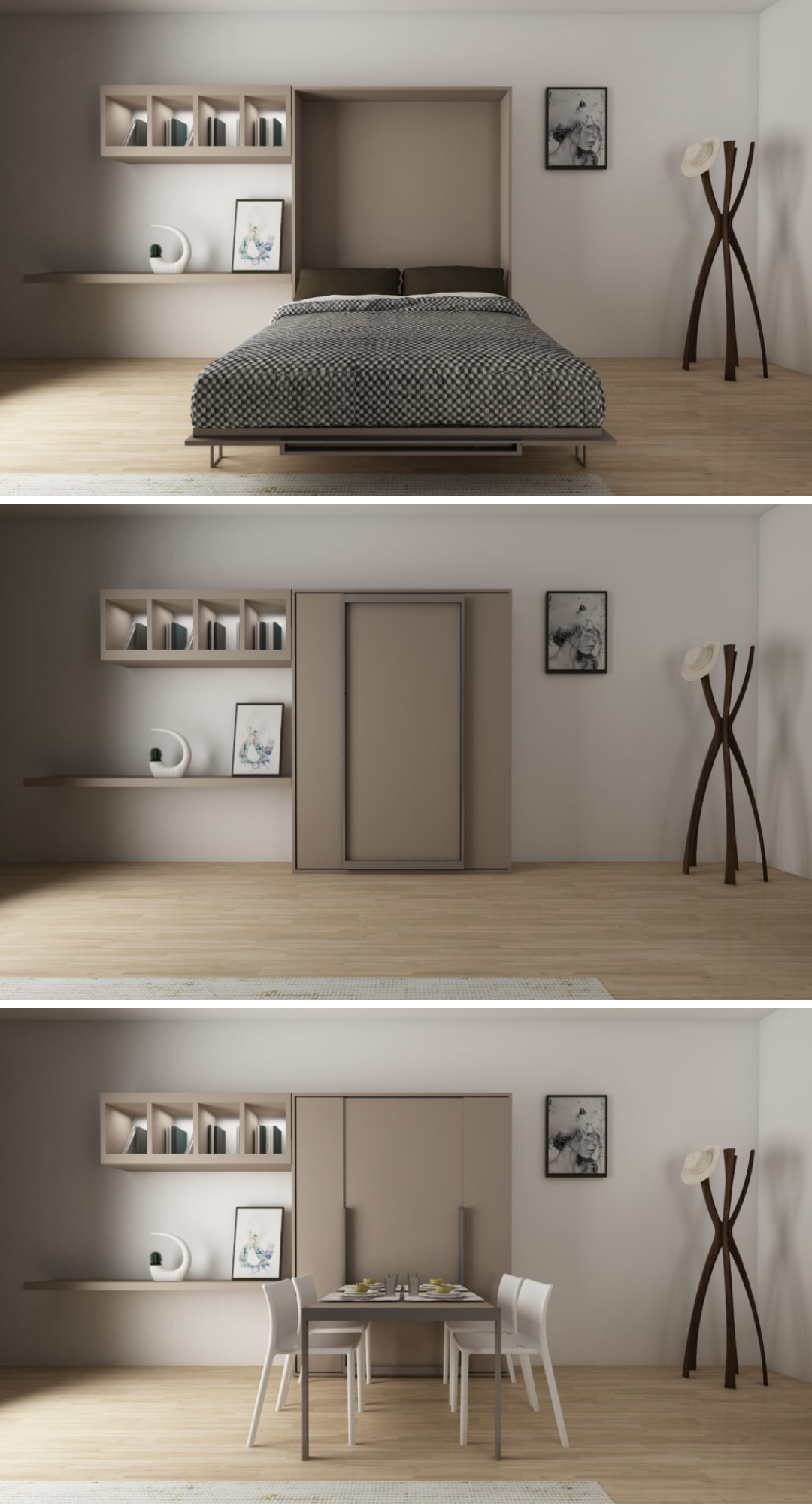 great wallbed + table Small apartment room, Flex room