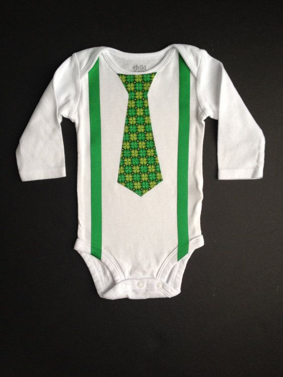 8dd8ab146 St. Patrick's Day Tie with suspenders - bodysuit or shirt - sizes newborn  to boys medium - great outfit for First St Patrick's Day