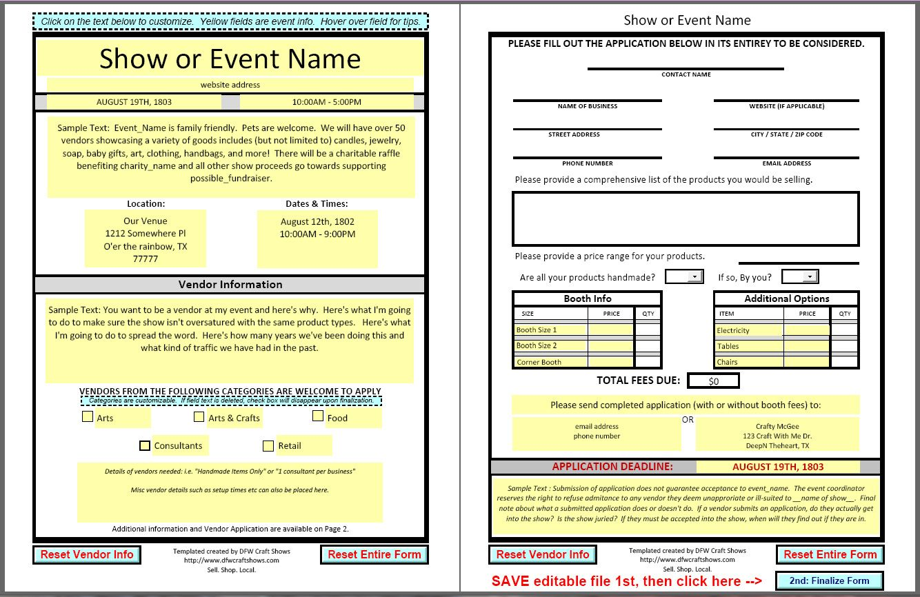Vendor Applications Part III The Template (With