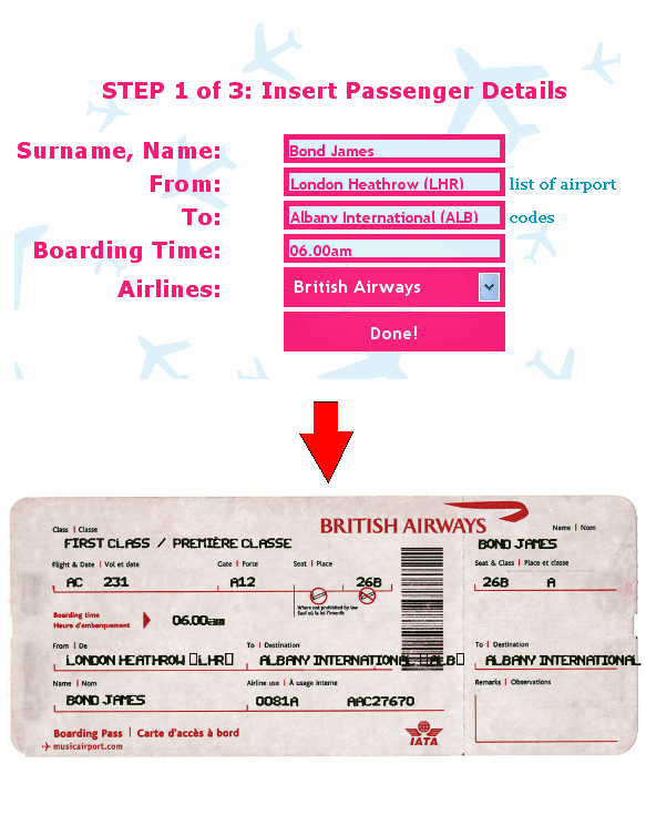 Fake Airline Ticket Generator O Matic