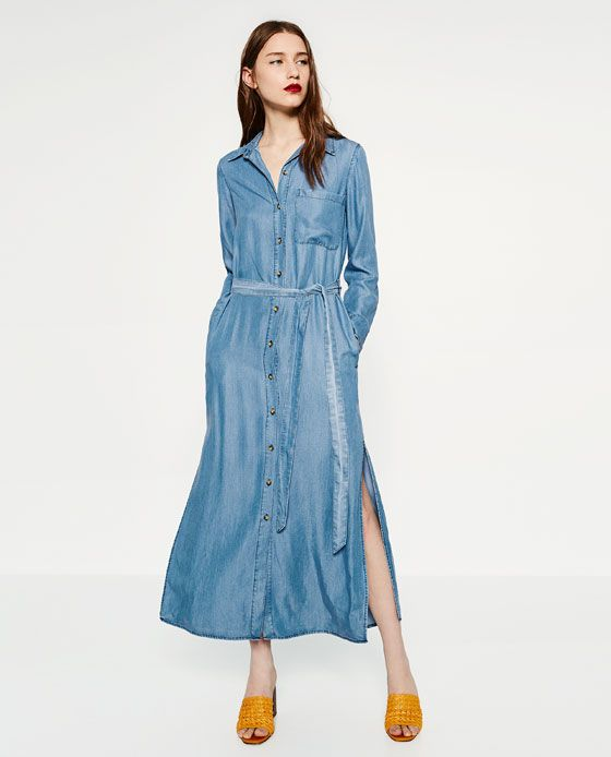 0f06129951 Image 1 of LONG DENIM DRESS from Zara