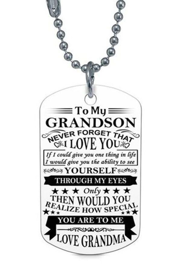 Beautiful To My Grandson Necklace From Grandma Granddad