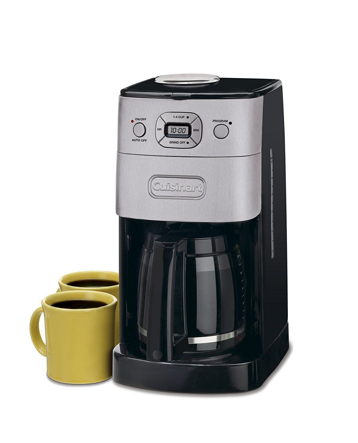 Cuisinart grindandbrew cup automatic coffeemaker brushed metal