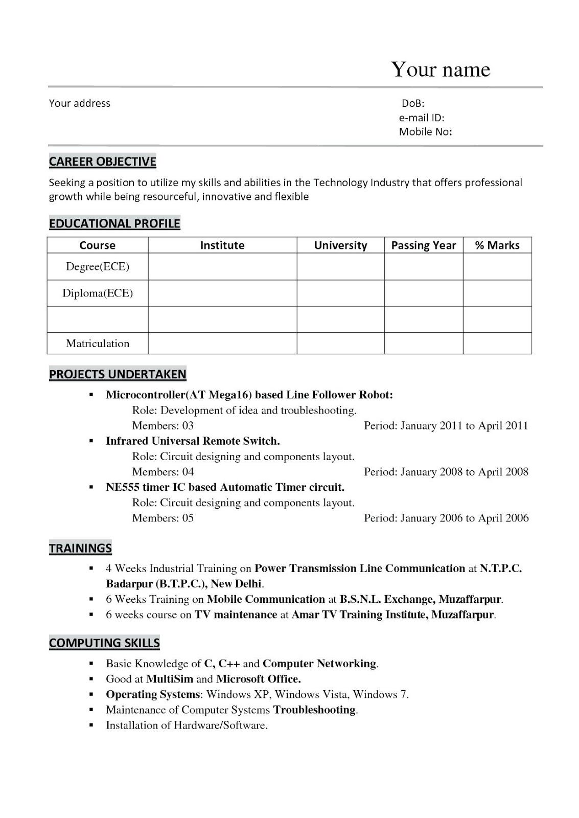 14 Hardware And Networking Brisker Resume Format Doc Basic Resume Resume Examples Resume