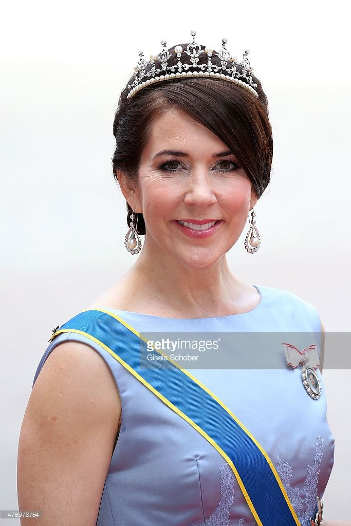 Crown Princess Mary Of Denmark attends the royal wedding of Prince Carl Philip of Sweden and Sofia Hellqvist at The Royal Palace on…