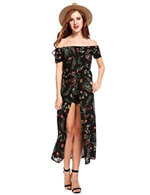 d828ea0e2e3a Bluetime Women Floral Off Shoulder Beach High Low Split Maxi Romper  Jumpsuit Dress Black