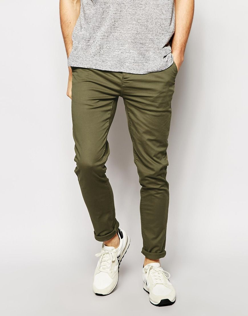 Chinos by ASOS Woven twill fabric Added stretch for comfort Concealed  button fly Side slant pockets Skinny fit - cut closely to the body Machine  wash Cotton ...