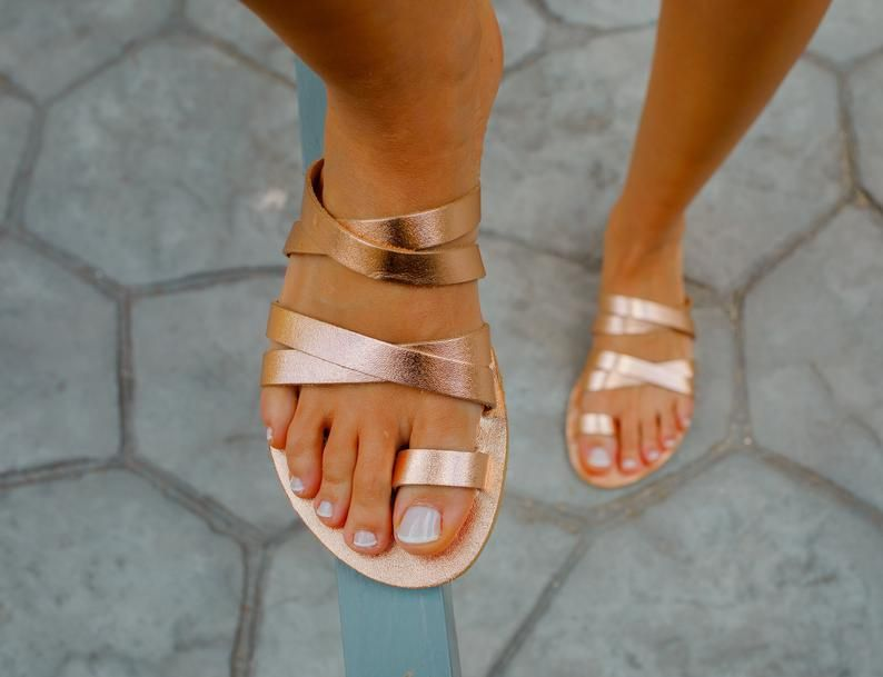 Greek handmade flat leather sandals Strappy boho chic natural tan leather sandals toe ring ankle strap sandals