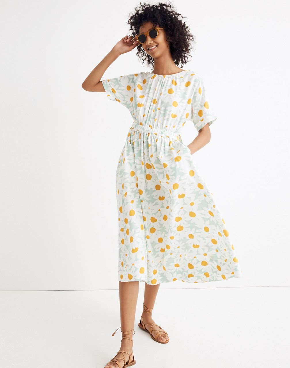 Warehouse tiered lace dress yellow  TieBack Maxi Dress in Mini Daisy in daisy sea haze image