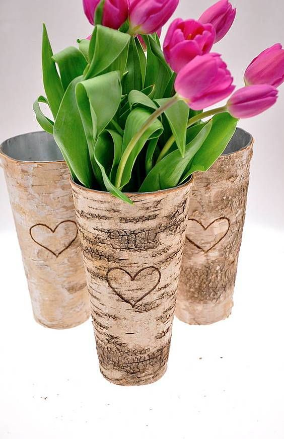 Personalised Rustic Birch Wood Vase Birch Special Person And Woods