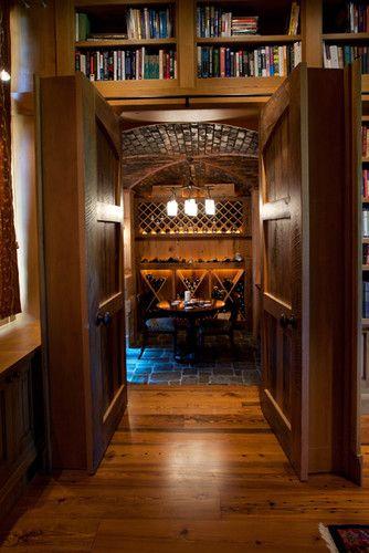 Secret bookshelf doors into wine cellar