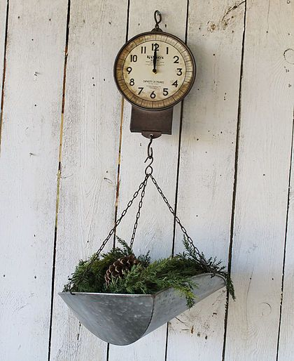 Farmhouse Christmas Decor From Rust And Relics LLC Hanging Scale Clock 9995 Rustandrelics