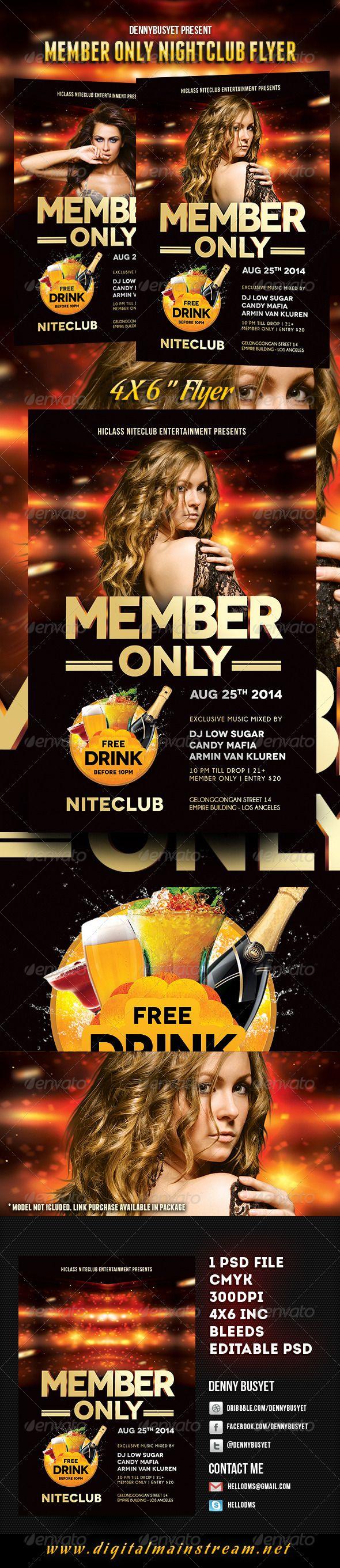 Member Only Nightclub Flyer Template Nightclub Party Night Dance