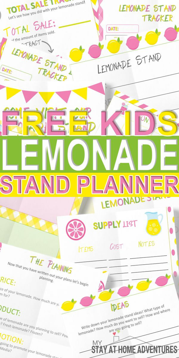 Free Kids Lemonade Stand Planner is part of Kids Crafts Activities Free Printables - Hurry and grab this free kids lemonade stand planner  A digital free lemonade printable dedicated to teaching your kids about making money