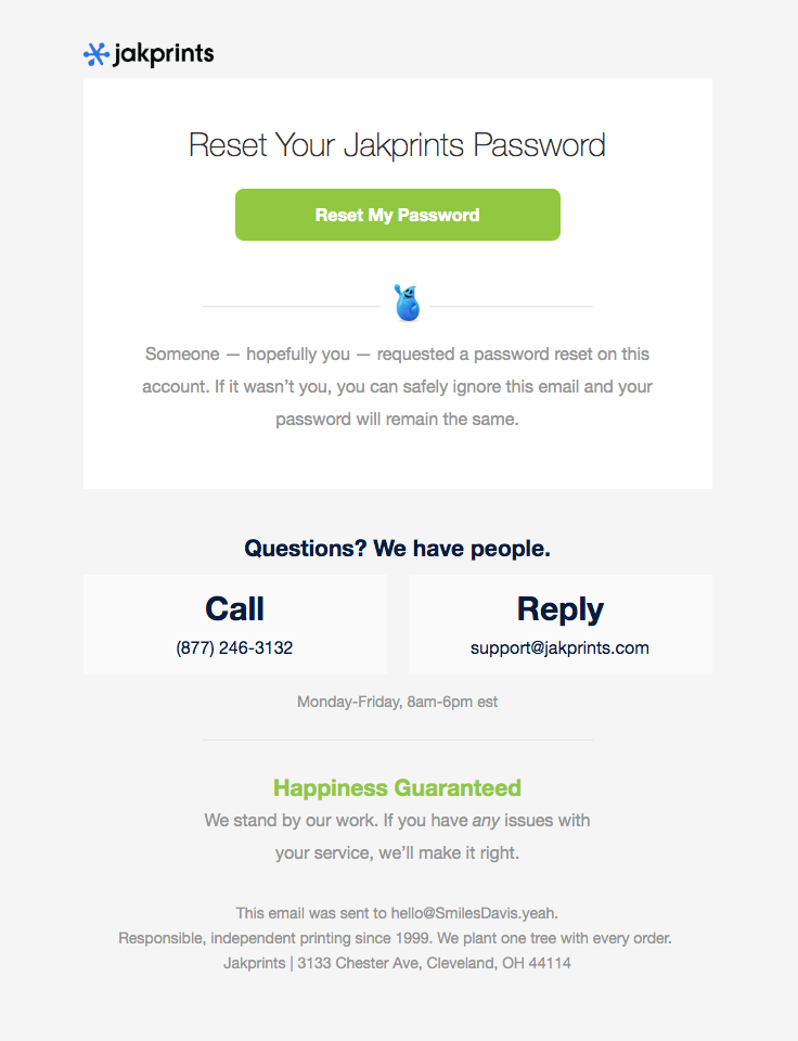 jakprints sent this email with the subject line Password