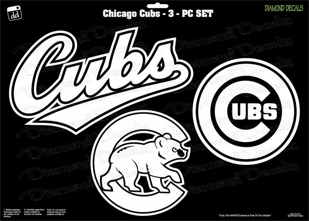 Chicago cubs mlb baseball 3 pc set vinyl decal car stickers window cornhole diamonddecalz