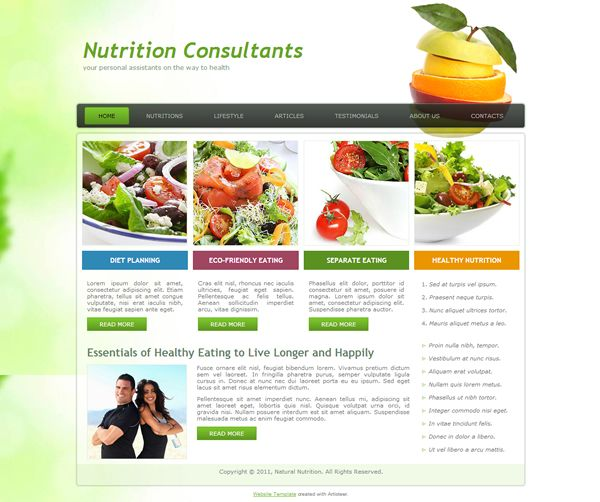 Nutrition Consltants | Free Html Website Templates | Pinterest