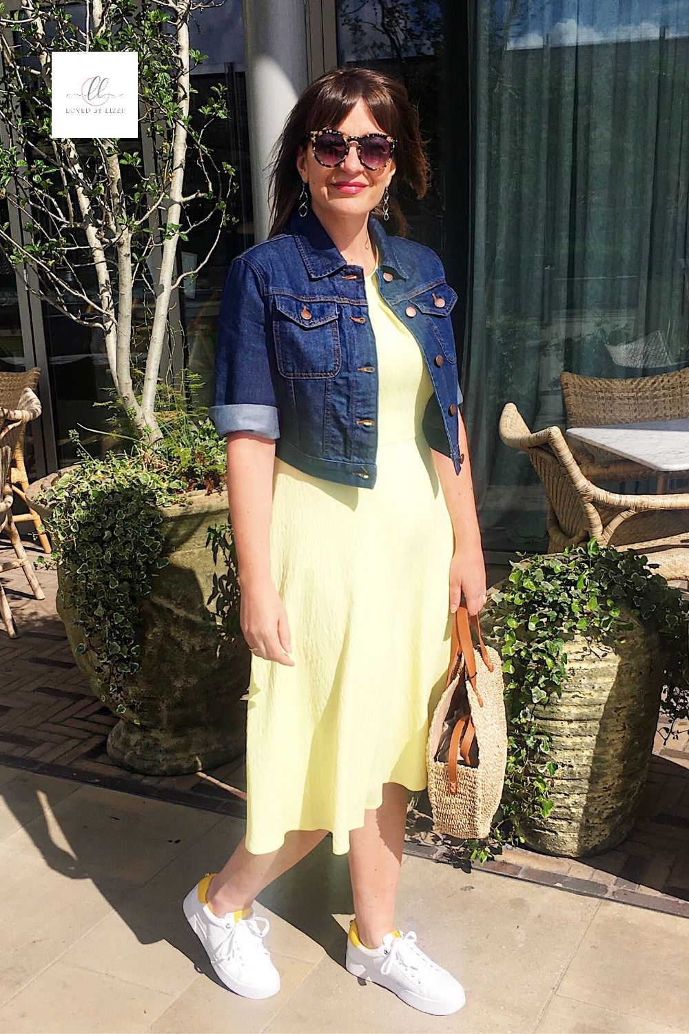It was fab working with John Lewis & Partners style team in OXFORD - we had so much fun styling this looks in May 2019. A dark denim can be a great colour in the summer, it really elevates this look. Gorgeous summer dress in yellow by Fenn Wright Mason. #springlook #outfitpost #springstyle #styledbylizzi