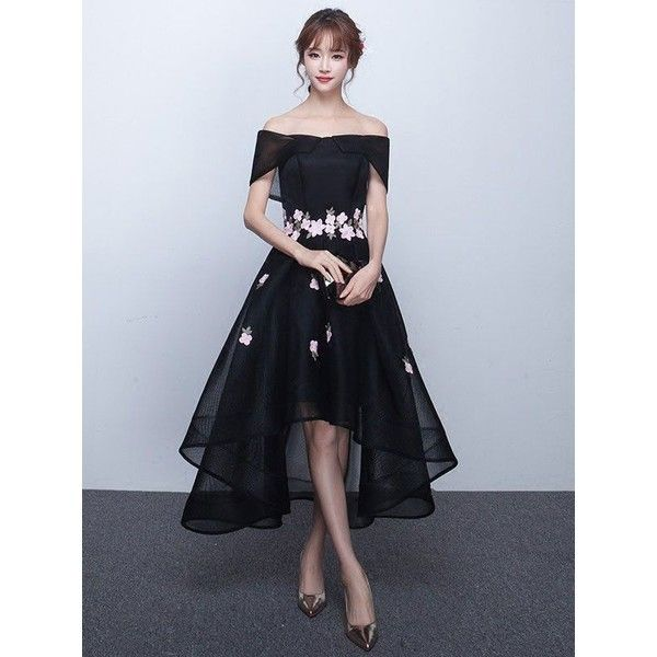 b118b80d3477 Black Cherry Blossom Off Shoulder Hi-Low Formal Evening Dress ❤ liked on  Polyvore featuring dresses, hi lo dresses, off-shoulder dresses, ...