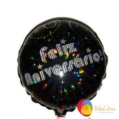 Balão Metalizado - Feliz Aniversário  (preto com brilho)  Consulte nos www.balaocultura.com.br