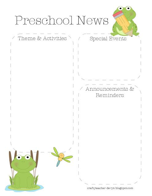 The Crafty Teacher Frog Preschool Newsletter Template  Frog