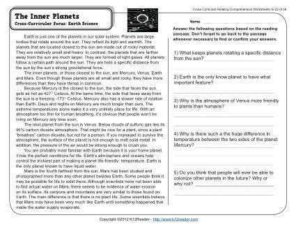 The Inner Planets Cross Curricular Reading Passages And Earth Science